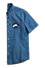 Short-sleeved denim shirt - Denim blue - Men | H&M CN 3
