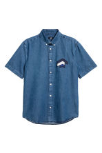 Short-sleeved denim shirt - Denim blue - Men | H&M CN 2