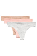3-pack thong briefs - Light grey marl - Ladies | H&M CN 2
