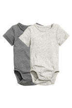 2-pack pima cotton bodysuits - Grey marl - Kids | H&M CN 2