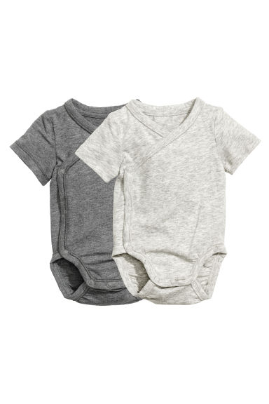 2-pack pima cotton bodysuits - Grey marl - Kids | H&M 1