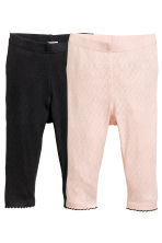 2-pack pointelle leggings - Powder pink - Kids | H&M CN 1