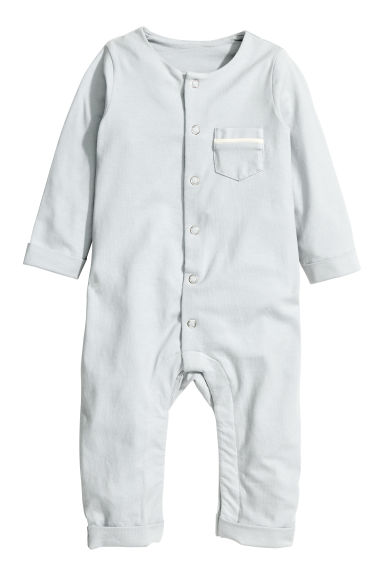 Pima cotton all-in-one pyjamas - Light grey -  | H&M 1