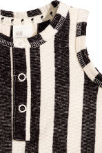 Cotton romper suit - Dark grey/Striped -  | H&M 2