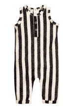 Cotton romper suit - Dark grey/Striped -  | H&M 1