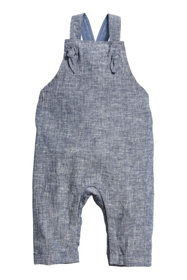 Salopette in misto lino - Blu scuro mélange - BAMBINO | H&M IT 1
