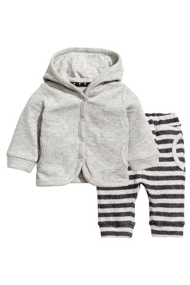 Hooded jacket and trousers - Grey marl - Kids | H&M 1