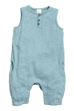 Slub jersey romper suit - Light petrol - Kids | H&M 1