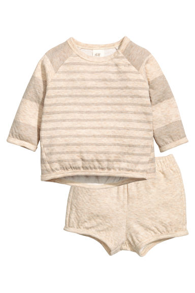 Top and shorts - Beige/Grey - Kids | H&M 1
