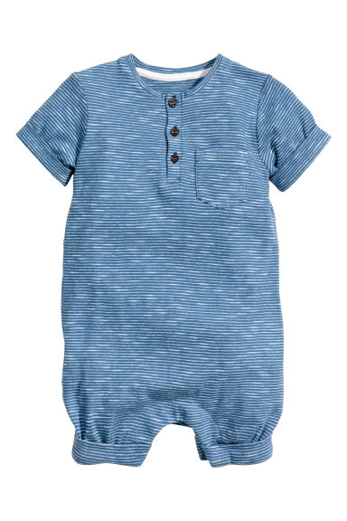 Slub jersey romper suit - Blue/Striped - Kids | H&M CN