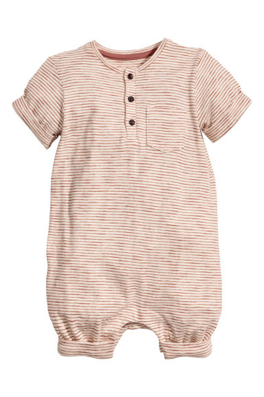 Slub jersey romper suit - Beige/Striped - Kids | H&M IE 1