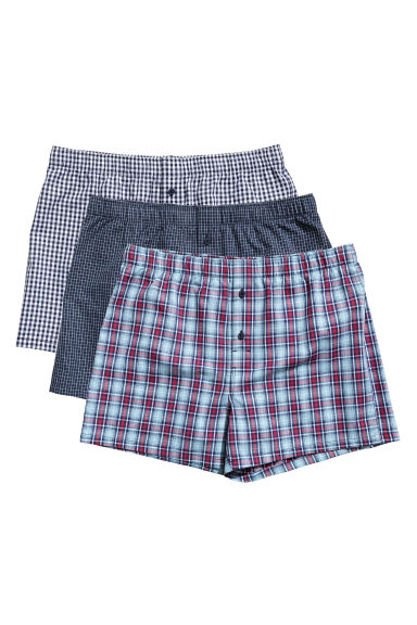 3-pack boxer shorts - Dark blue/Checked - Men | H&M CN