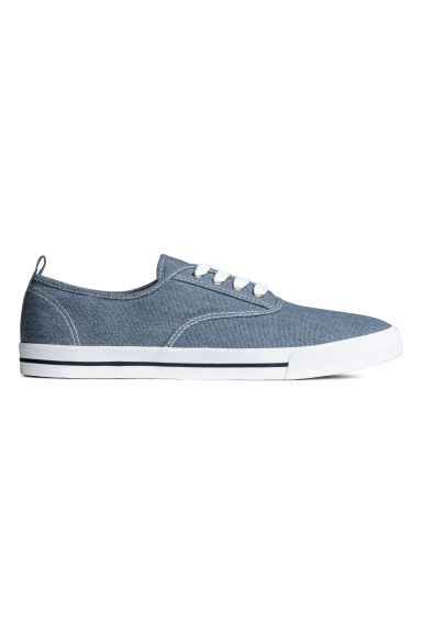 Cotton canvas trainers - Grey-blue - Men | H&M 1