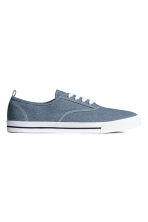 Cotton canvas trainers - Grey-blue - Men | H&M CN 1
