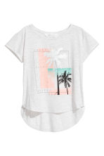 Short-sleeved printed top - Light grey/Palms -  | H&M 2