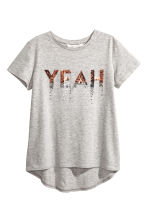 Short-sleeved jersey top - Grey marl -  | H&M CN 2