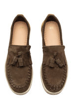 Leather loafers - Dark khaki brown - Men | H&M 2
