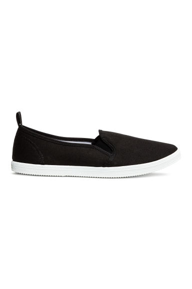 Slip-on canvas trainers - Black - Ladies | H&M 1
