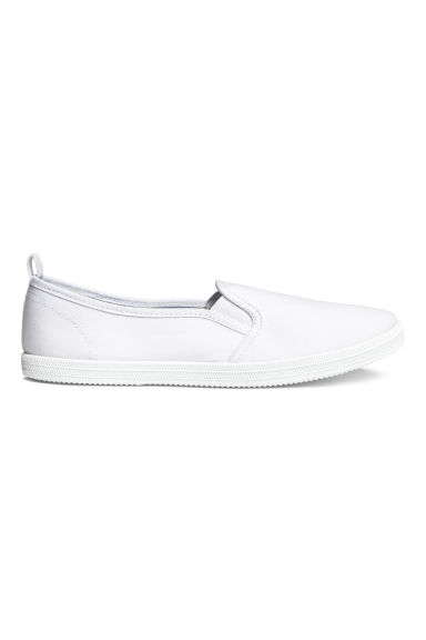 Slip-on canvas trainers - White - Ladies | H&M 1
