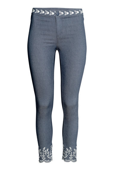 Embroidered trousers - Denim blue - Ladies | H&M
