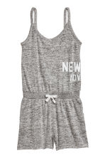 Fine-knit playsuit - Grey marl -  | H&M 2