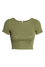 Cropped T-shirt - Khaki green - Ladies | H&M 2