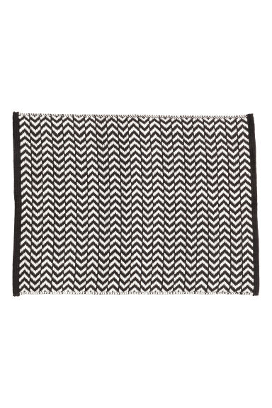 Jacquard-weave bath mat - Black/White/Patterned - Home All | H&M CN 1