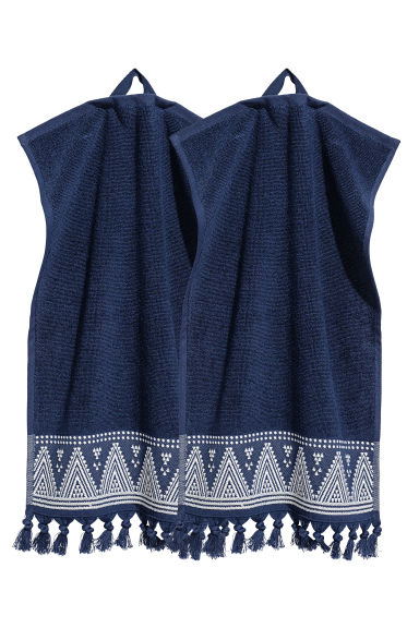 2-pack guest towels - Dark blue - Home All | H&M CN 1
