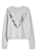 Short sweatshirt with frills - Grey - Ladies | H&M 2