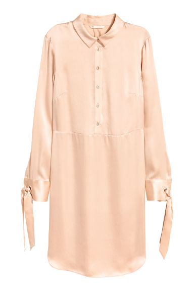 Silk shirt dress - Light beige - Ladies | H&M 1