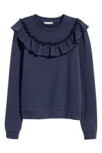 Sweatshirt with a frill - Dark blue - Ladies | H&M 2