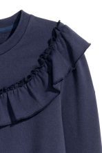 Sweatshirt with a frill - Dark blue - Ladies | H&M 4