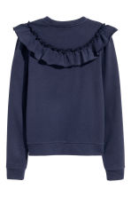 Sweatshirt with a frill - Dark blue - Ladies | H&M 3
