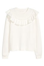 Sweatshirt with a frill - White - Ladies | H&M 2