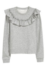 Sweatshirt with a frill - Grey marl - Ladies | H&M 2