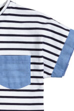 Jersey top - White/Dark blue/Striped -  | H&M CN 3