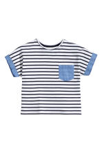 Jersey top - White/Dark blue/Striped -  | H&M CA 2