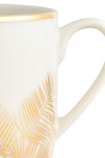 Printed porcelain mug - White/Palm leaf - Home All | H&M CN 3