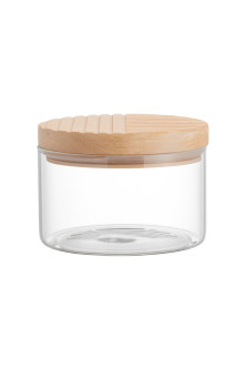 Small clear glass jar