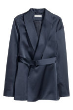 Satin belted jacket - Dark blue - Ladies | H&M 2