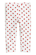 Jersey leggings - White/Strawberries -  | H&M 2