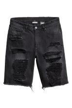 Trashed Denim shorts - Black denim - Men | H&M CA