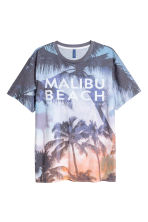 Patterned T-shirt - Light blue/Palms - Men | H&M 2