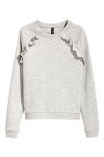 Sweatshirt with frills - Grey marl - Ladies | H&M 2