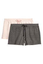 2-pack pyjama shorts - Powder/Black patterned - Ladies | H&M CN 1