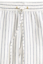 Linen joggers - White/Striped - Ladies | H&M CN 3