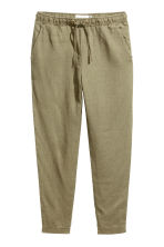 Linen joggers - Khaki green - Ladies | H&M 2
