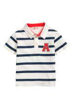 Jersey polo shirt - White/Dark blue/Striped -  | H&M CN 2