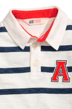 Jersey polo shirt - White/Dark blue/Striped -  | H&M CN 3