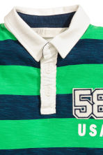 Jersey polo shirt - Dark blue/Green striped -  | H&M CA 3